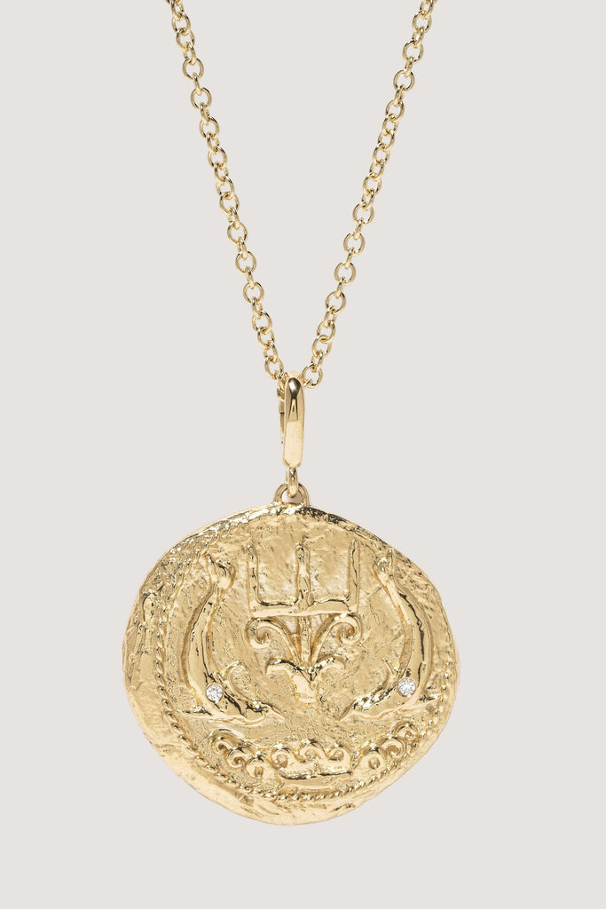 Azlee - Limited edition Of the Sea large diamond coin necklace