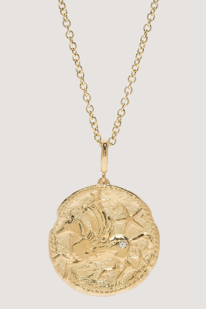 Azlee - Limited edition Large pegasus diamond coin necklace