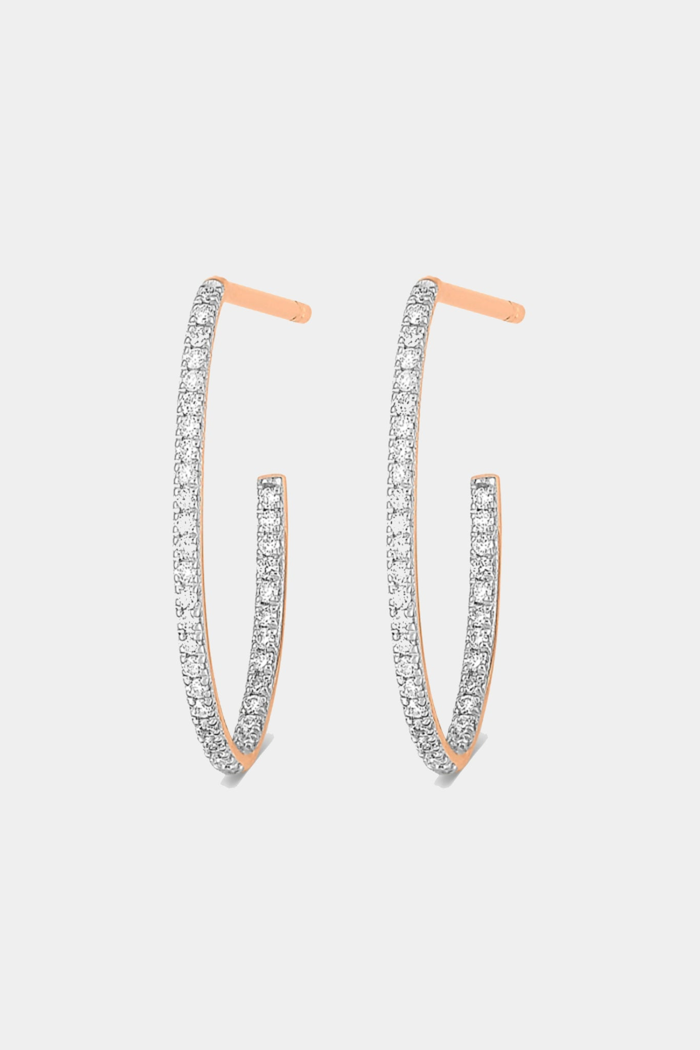 Ginette NY - ellipse diamond hoops, rose gold