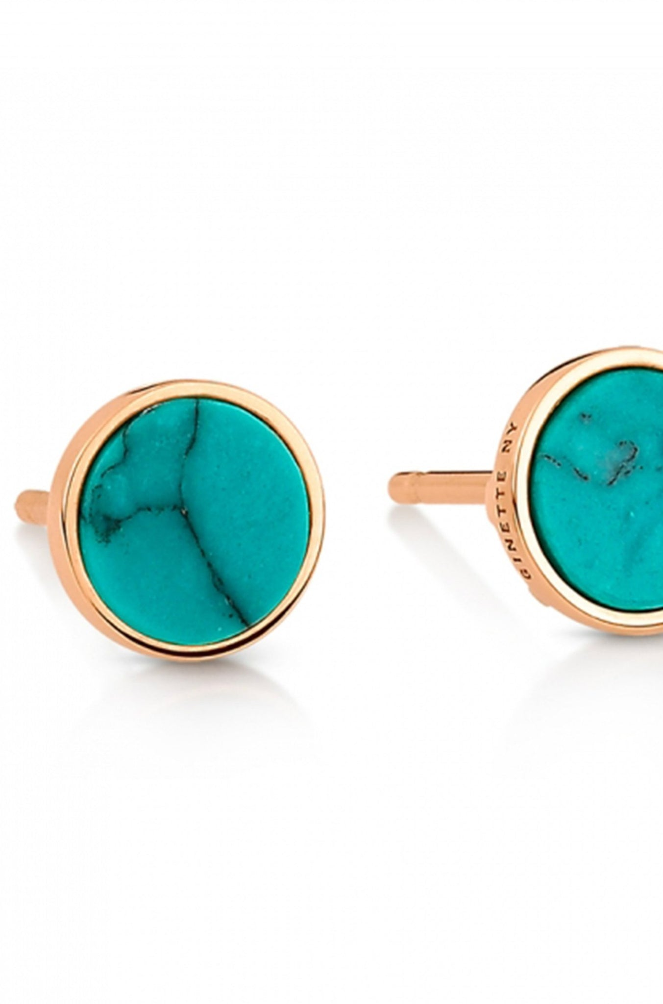 Ginette NY - ever turquoise disc studs, rose gold