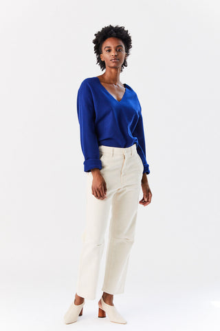 V Neck Sweater, Blue