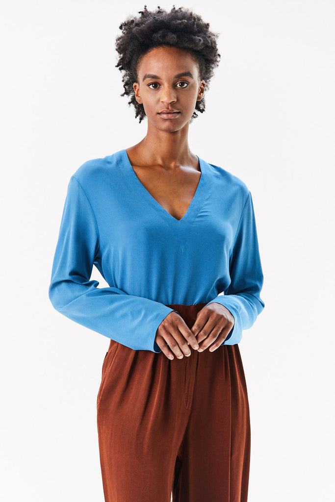 V Neck Top, Light Blue