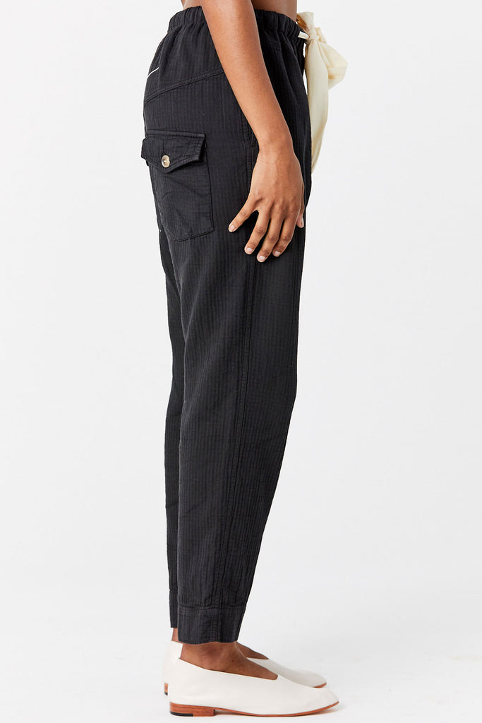 BASSIKE - Bone Cotton Drawstring Pant, Black