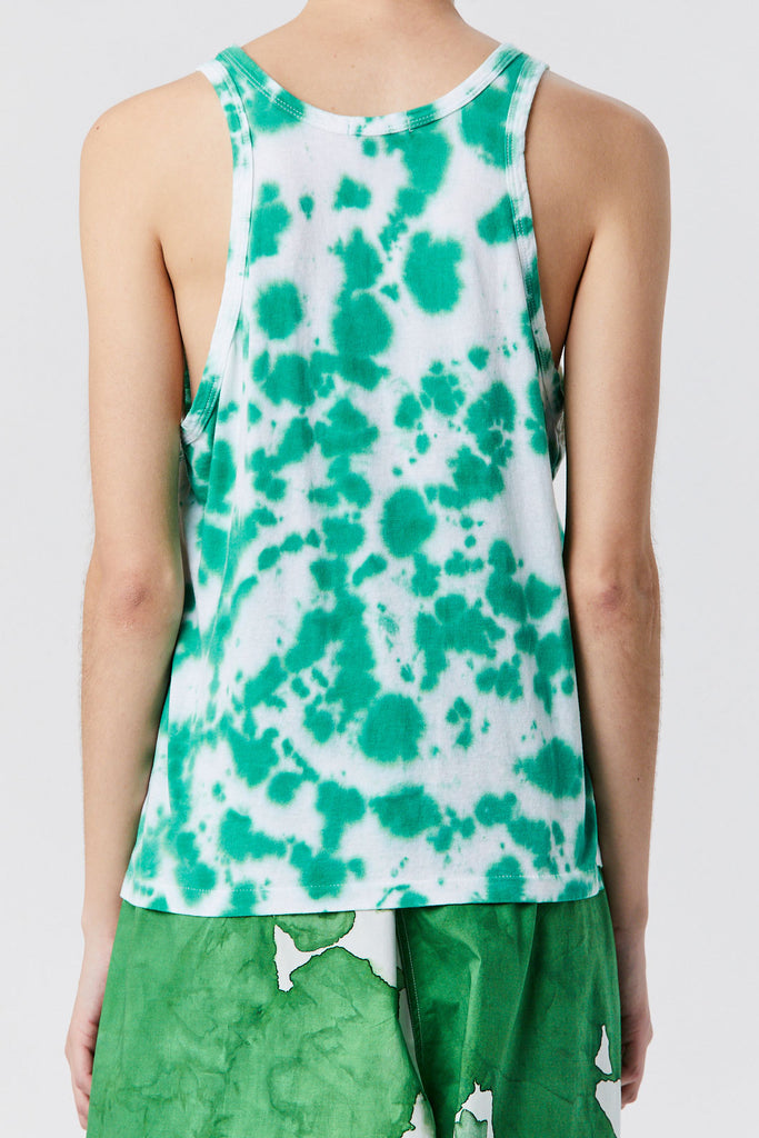 BASSIKE - Motley Slouch Athletic Tank, White & Green