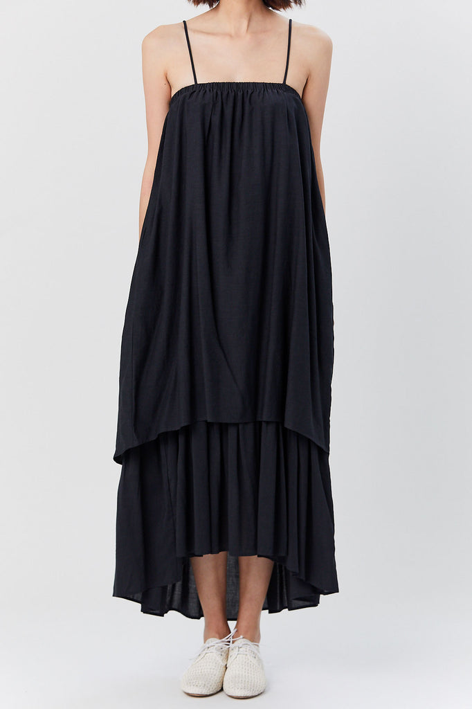 Black Crane - Double Camisole Dress, Faded Black