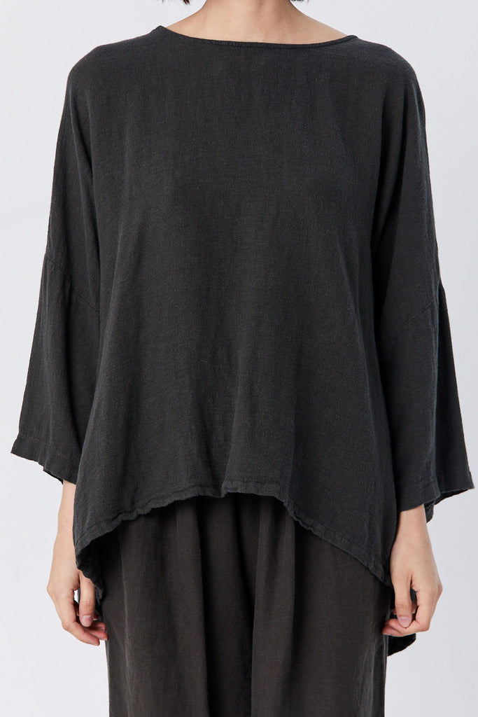 Black Crane - Gathered Top, Charcoal