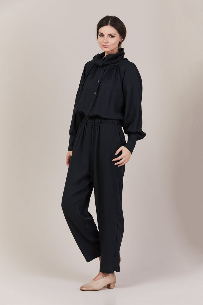 Black Crane - Gathered Jumpsuit, Dark Green