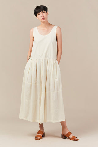 patched dress, cream