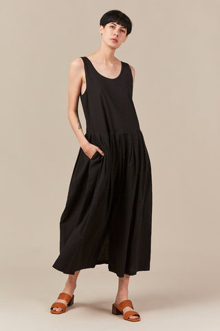 patched dress, black