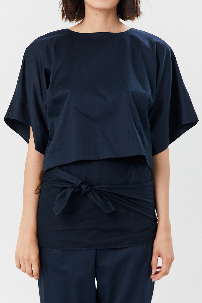 Black Crane - Petal Top, Navy