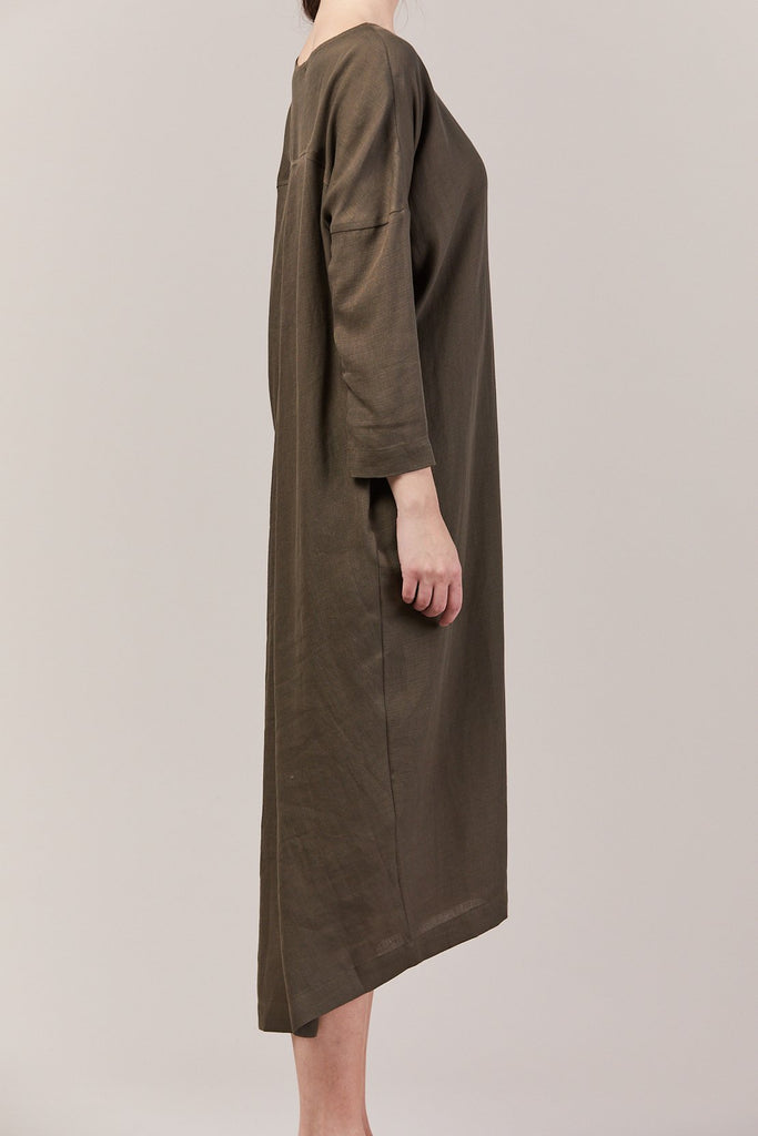 Black Crane - Pleated Cocoon Dress, Sand