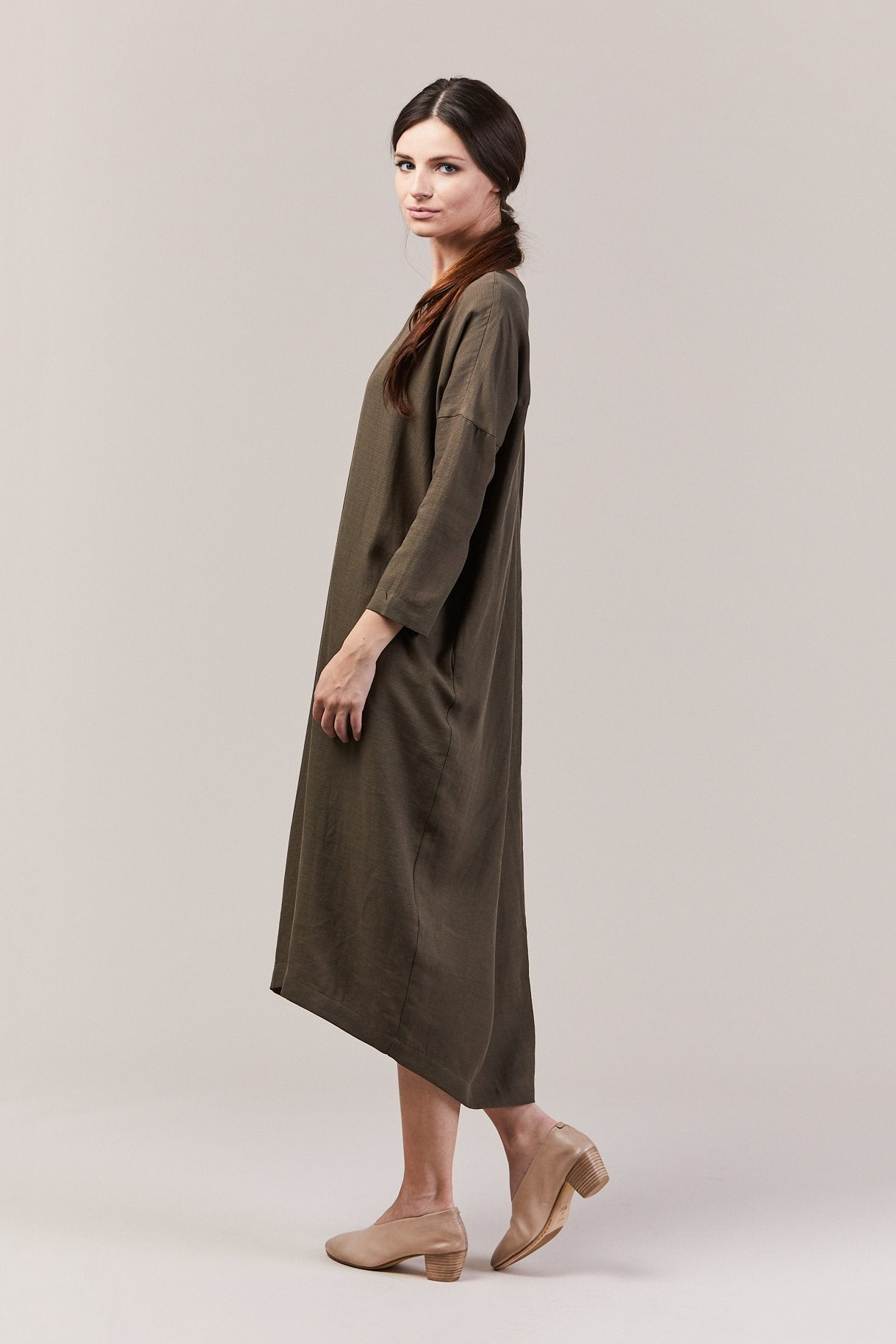 Pleated Cocoon Dress, Sand