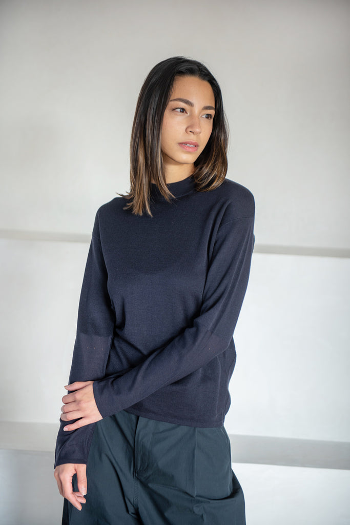 Studio Nicholson - Daikoku knit crew top, dark navy