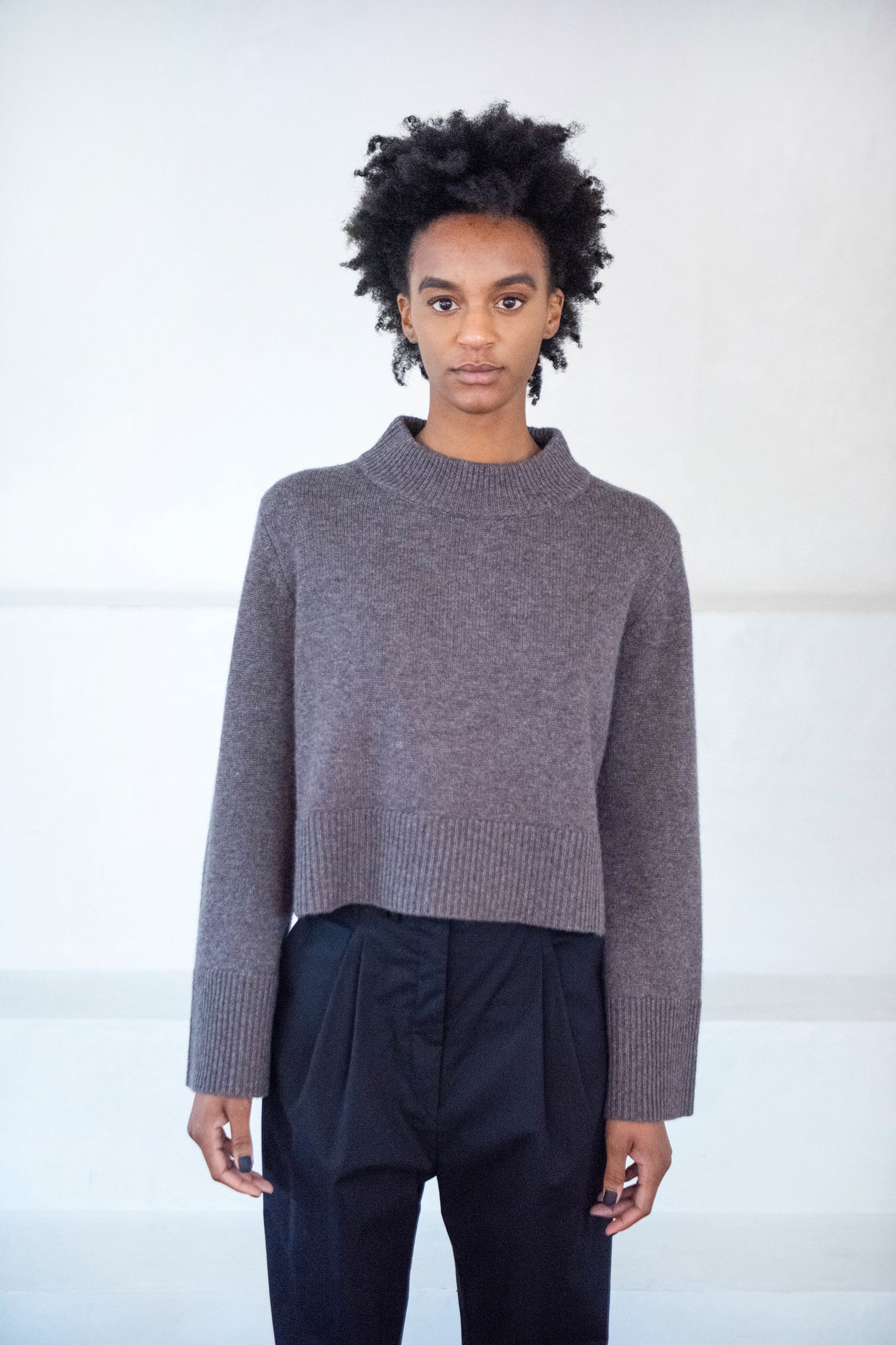 CO - cropped crewneck sweater, brown