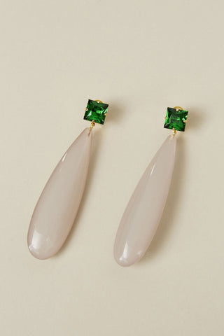 Camber Earrings, Green & Beige