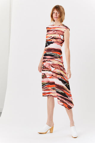 Cap Sleeve Dress, Abstract Print