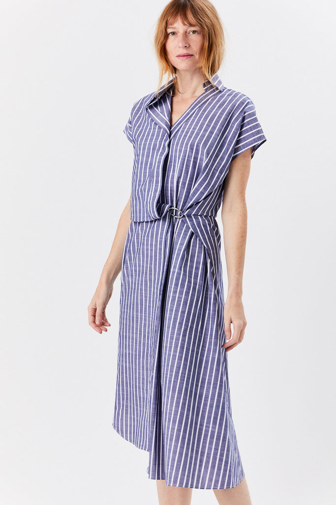 Gather Dress, Navy Stripe