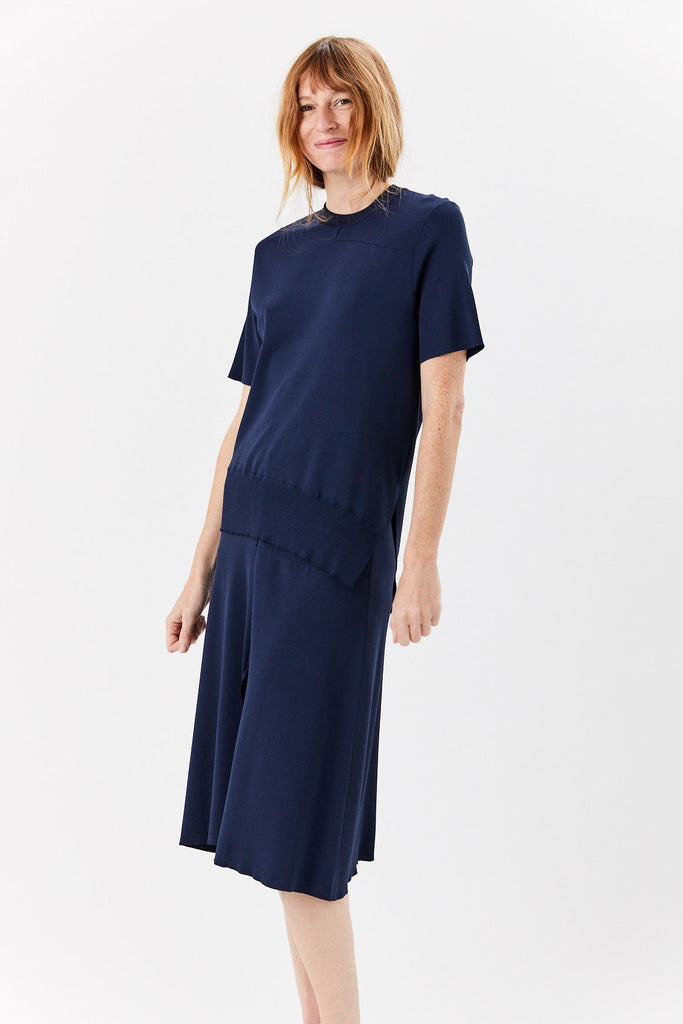 cédric charlier - Short Sleeve Sweater, Navy