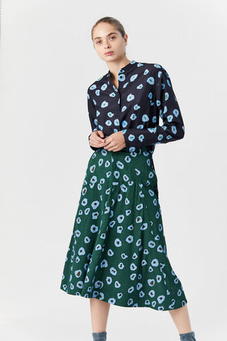 Saiba Skirt, Moonflower Blue/Green