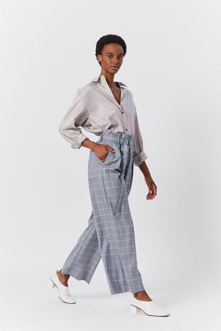 Belted Check Pants, Blue