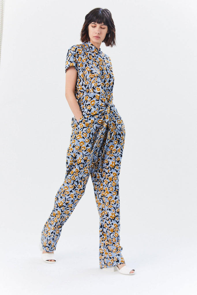 Oari Jumpsuit, Flower/Leaves Rust