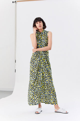 Dijara Dress, Flower Leaves Yellow