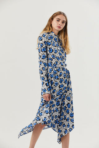 Domi Dress, Leo Flower White/Blue
