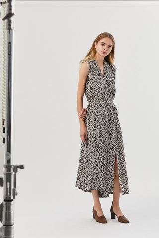 Dai Dress, Leopard Grey
