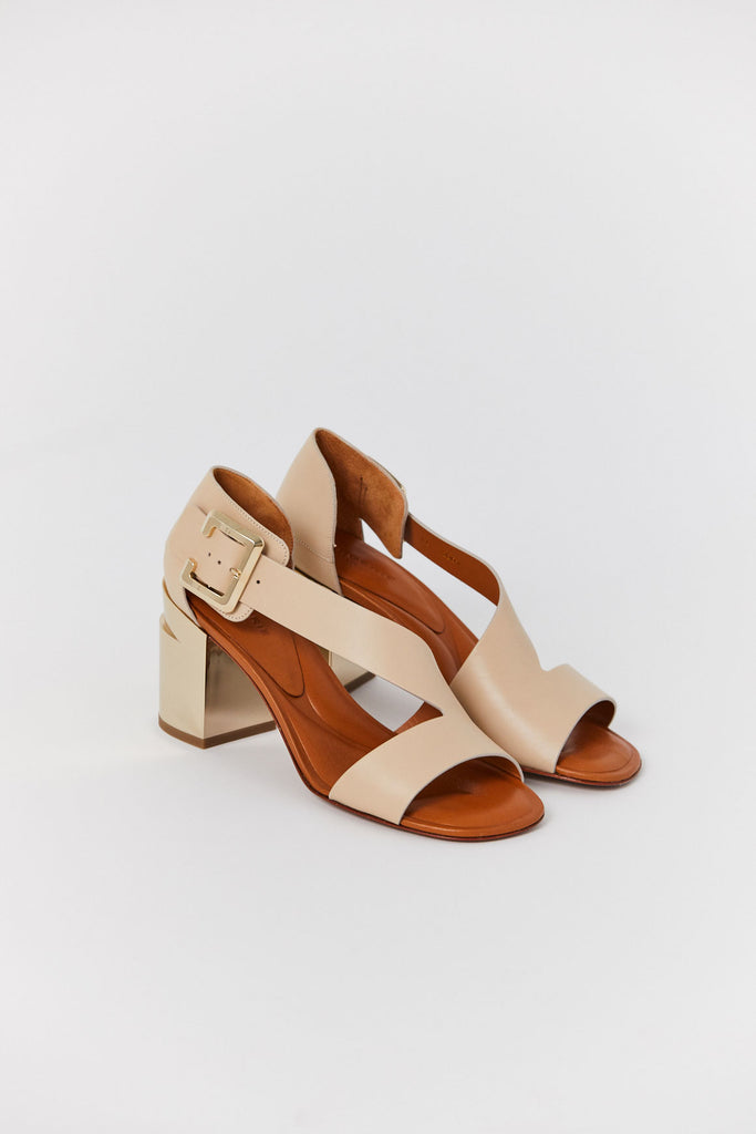 Abstract Heel, Light Beige & Gold