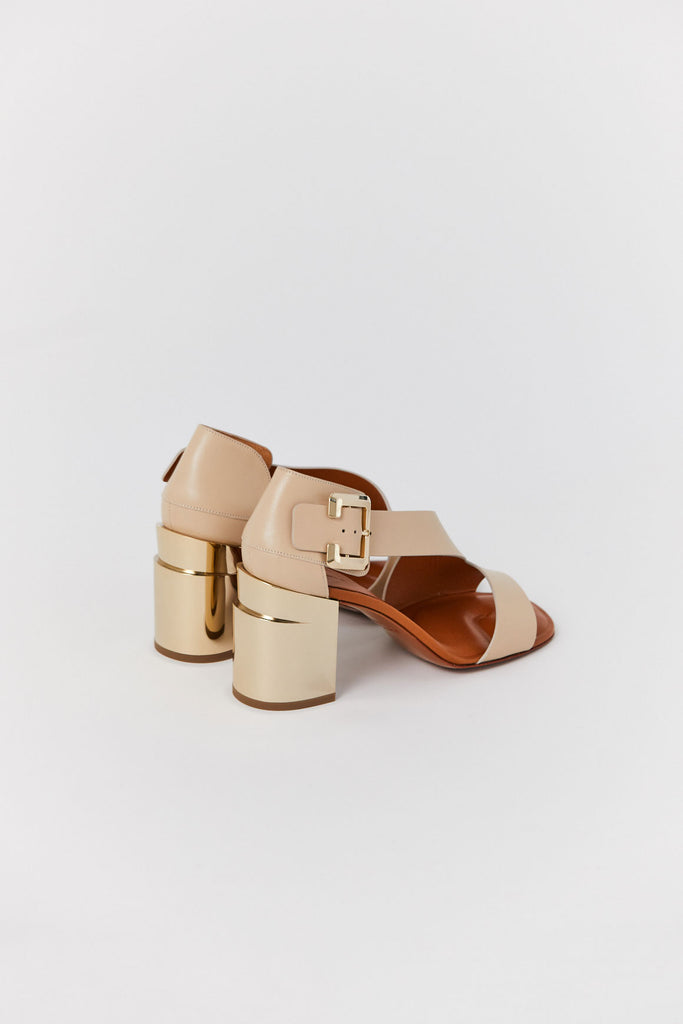 Clergerie - Abstract Heel, Light Beige & Gold