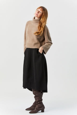 Boxy Turtleneck Sweater, Fawn