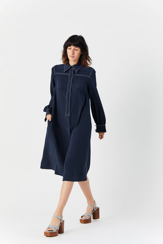 Crepe Midi Dress, Navy