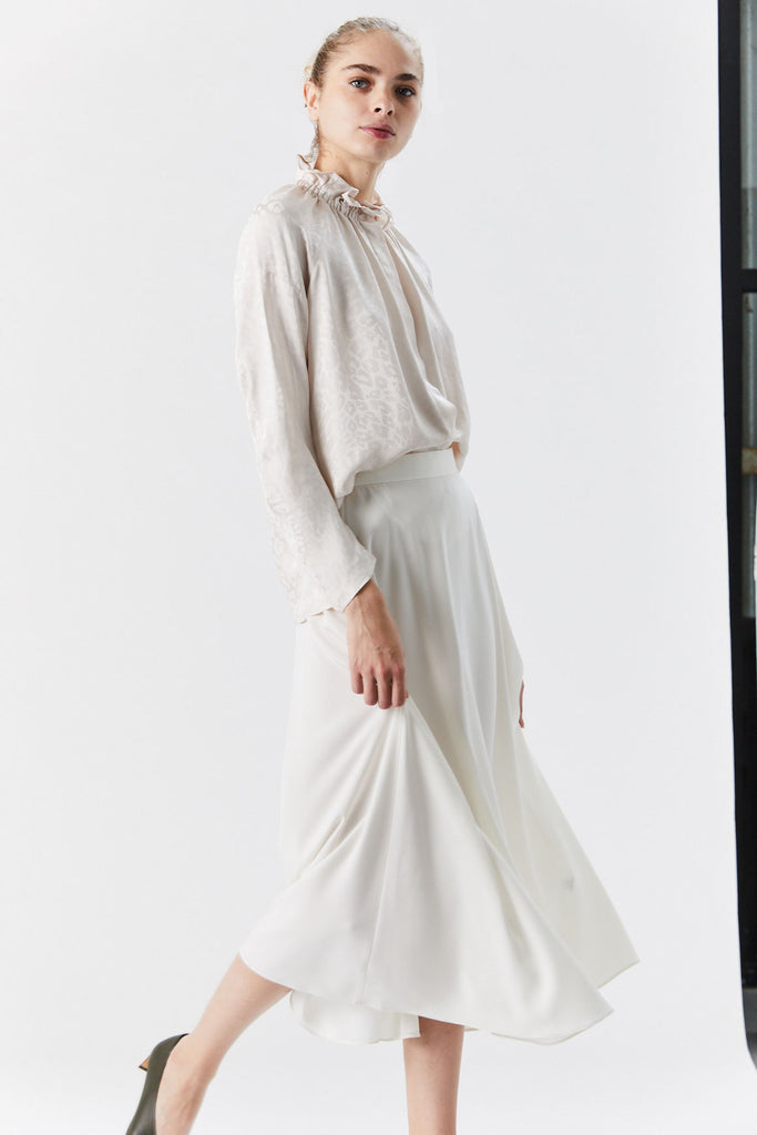 Japanese Stretch Crepe Skirt, Ivory