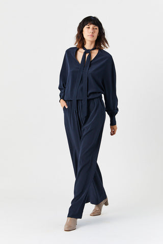 Crepe V Neck Blouse, Navy