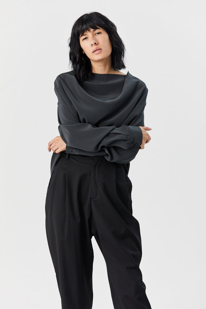 CO - Cowl Neck Top, Charcoal