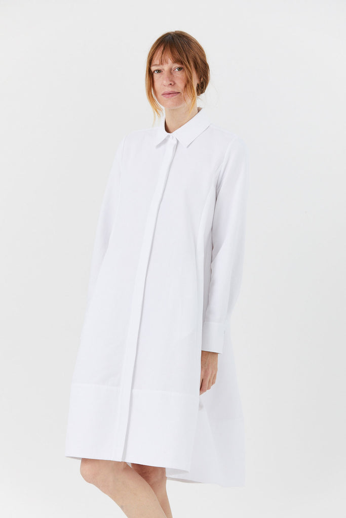 Pique Button Down Dress, White