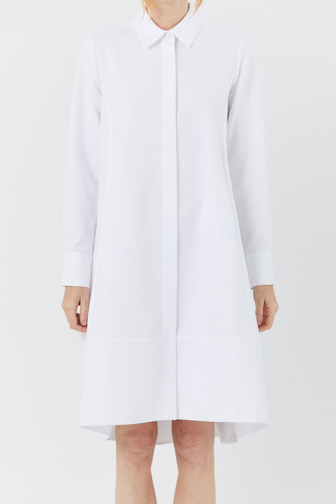 CO - Pique Button Down Dress, White