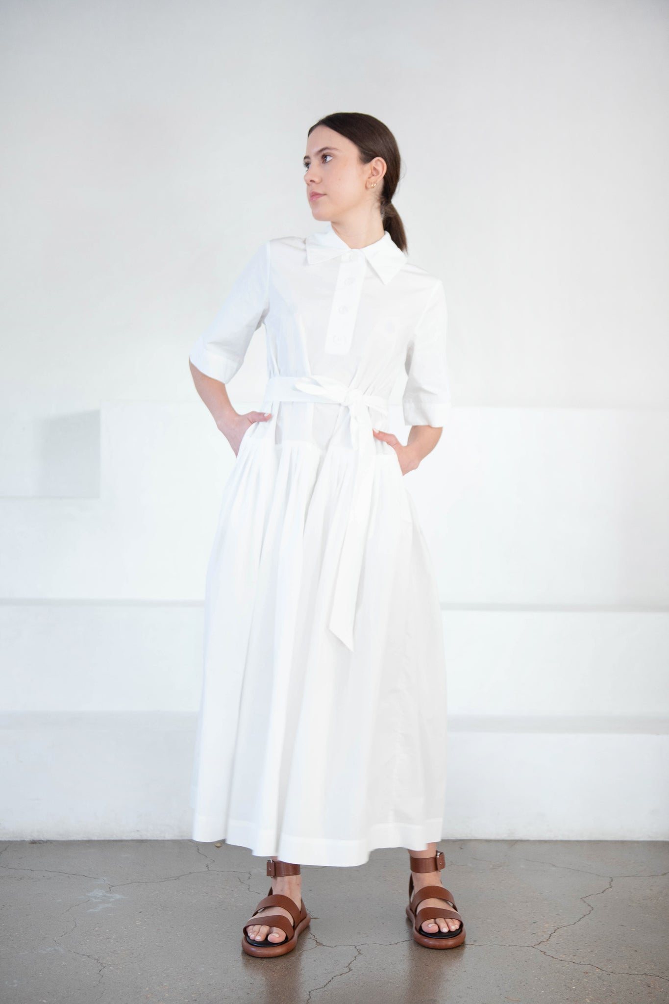 CO - polo collar gathered dress, white