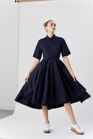 Short Sleeve Flared Dress, Navy