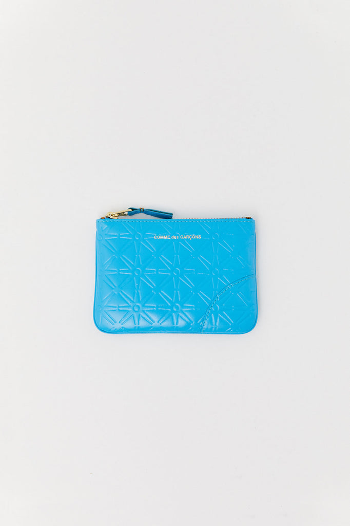 Small Embossed Pouch, Light Blue