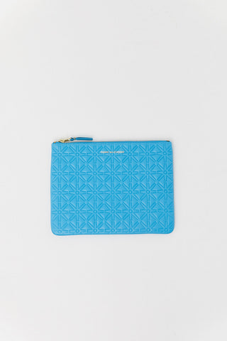 Embossed Pouch, Light Blue