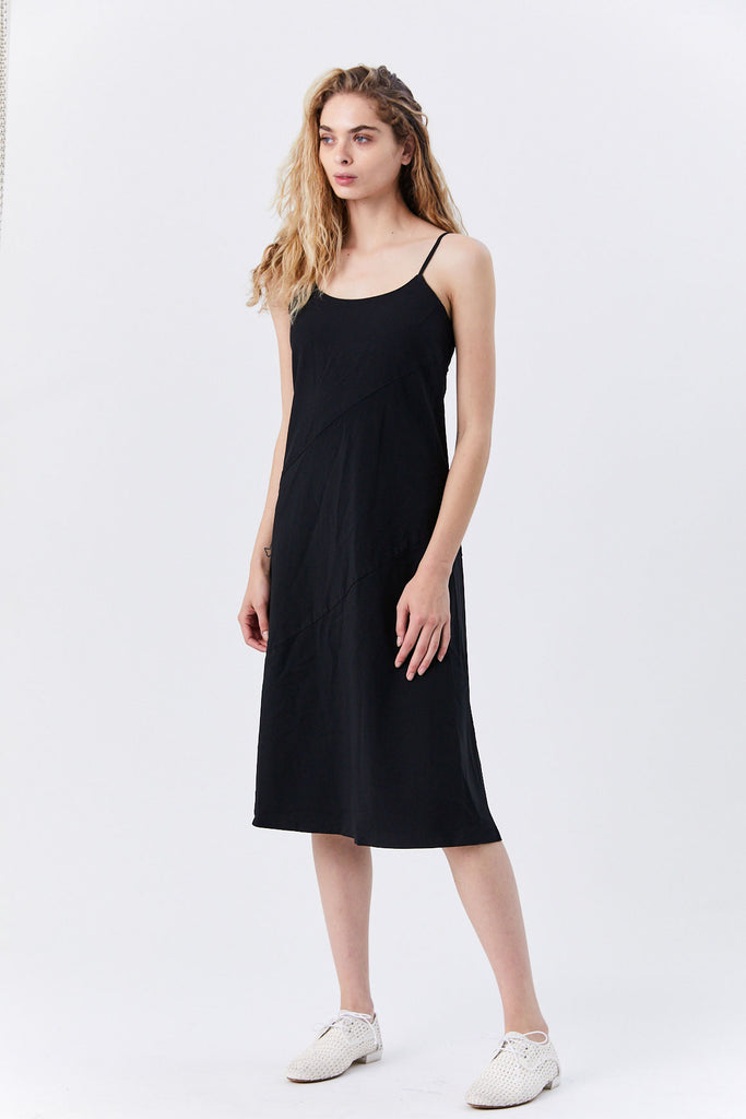 Sleeveless Panel Dress, Black