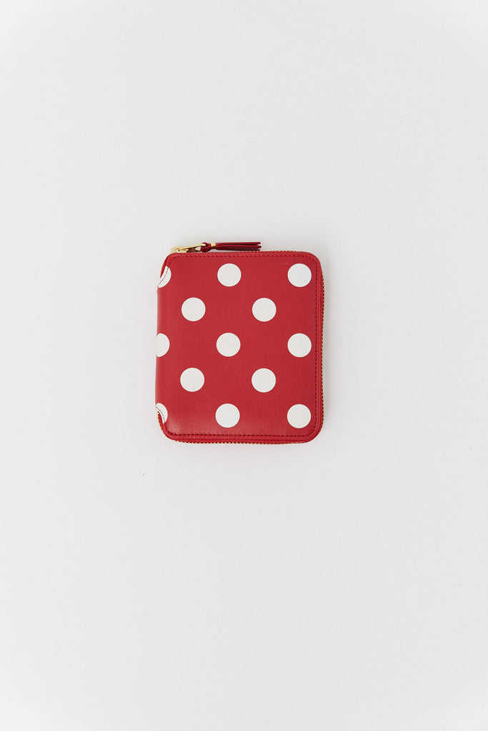 Polka Dot Printed Wallet, Red