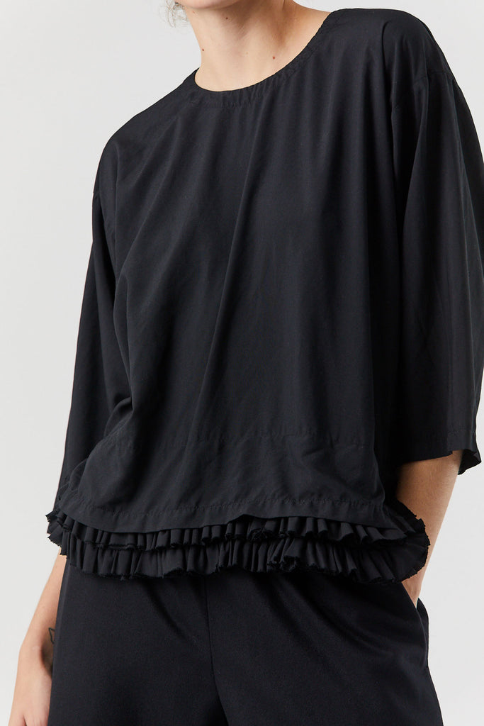 Ruffle Hem Top, Black