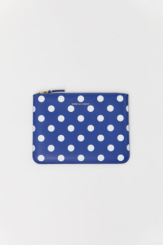 Polka Dot Printed Pouch, Navy