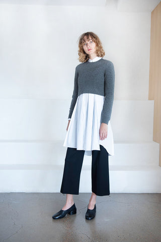 cropped wool jersey, grey