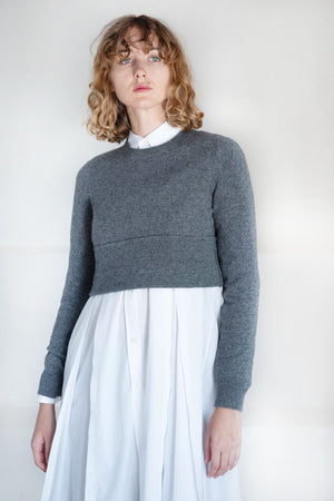 Comme des Garçons - cropped wool jersey, grey