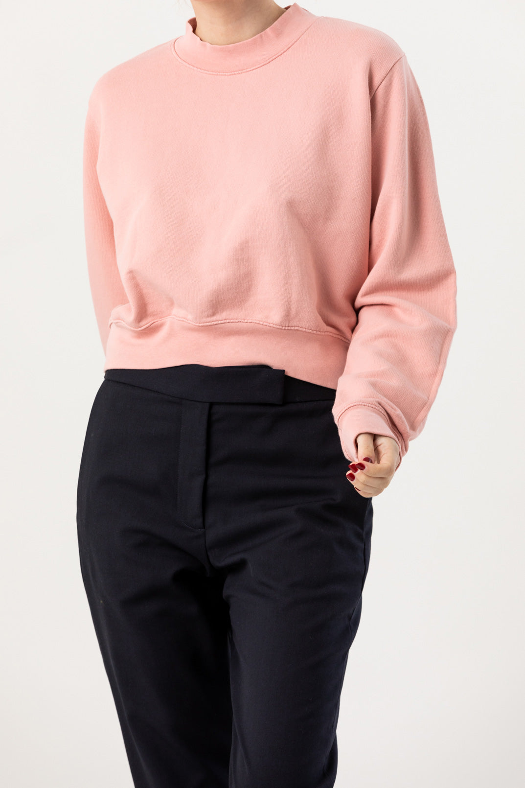 Cotton Citizen - Milan Cropped Crew Sweatshirt, Blush