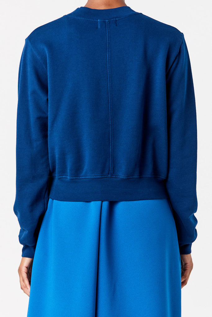 COTTON CITIZEN - Milan Cropped Crew Sweatshirt, Deep Sea
