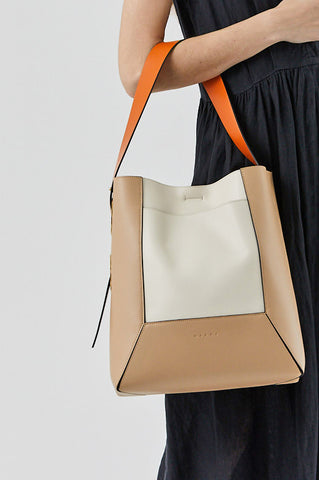 Nemo colorblock hobo bag, white, beige and orange